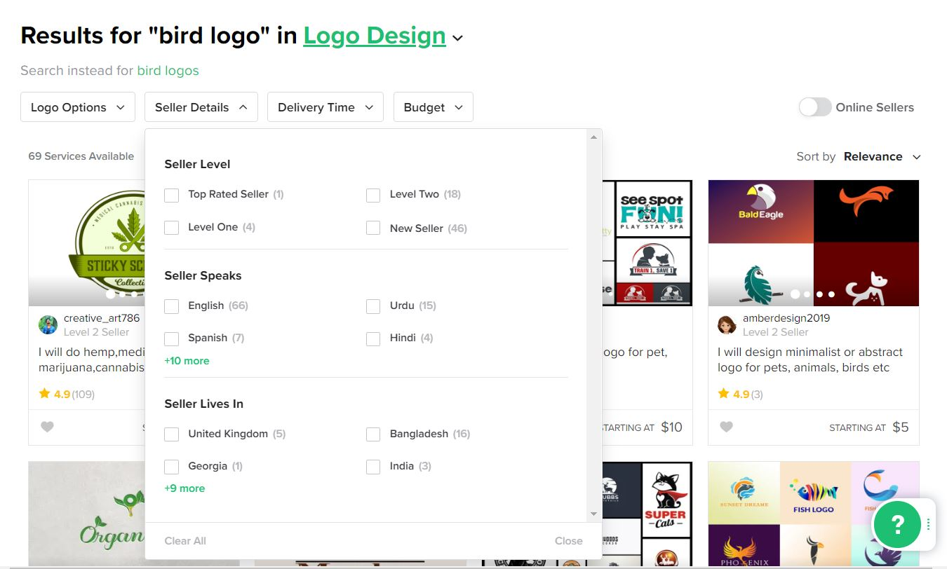 Fiverr screenshot - Bird logo designers