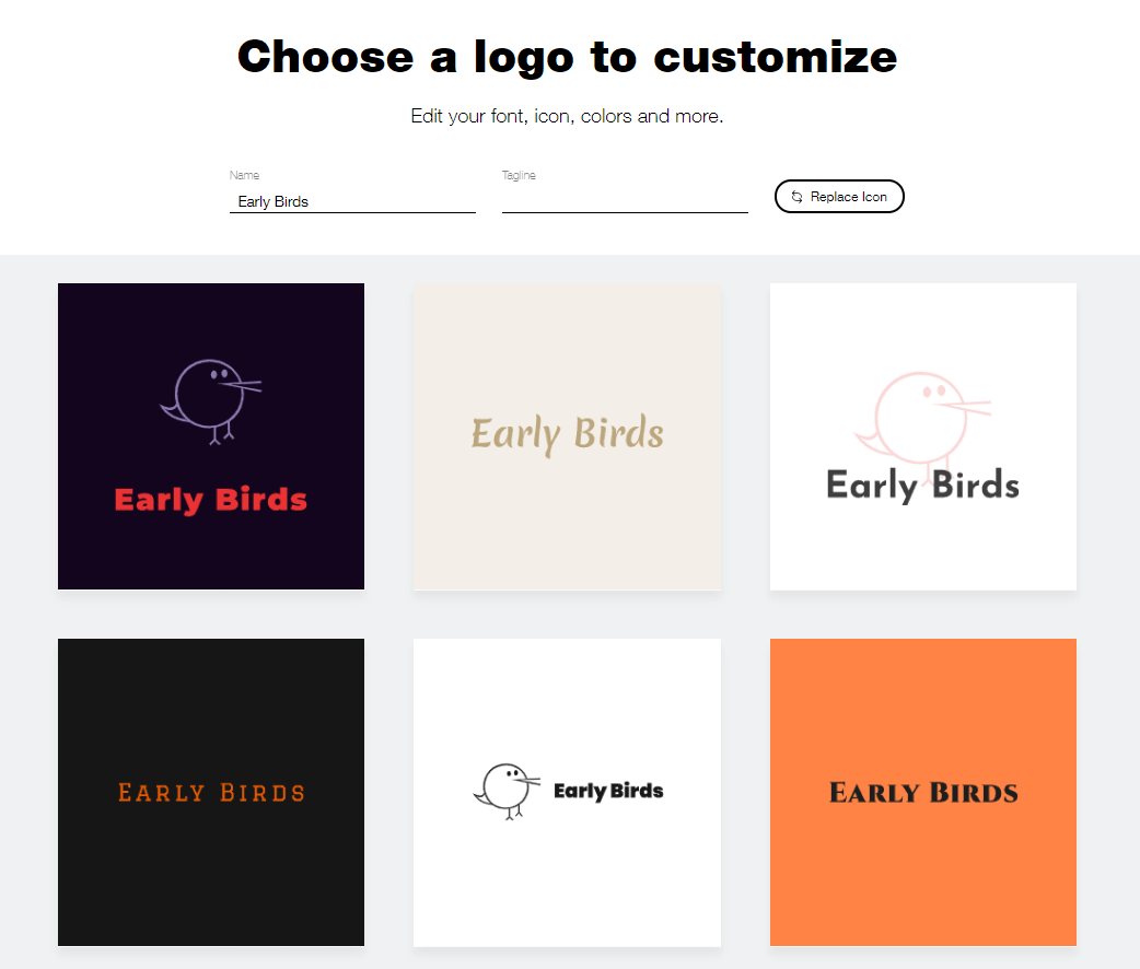 Wix Logo Maker screenshot - AI-generated bird logos