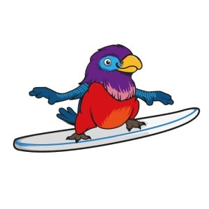 Bird logo - Surfing Parrot