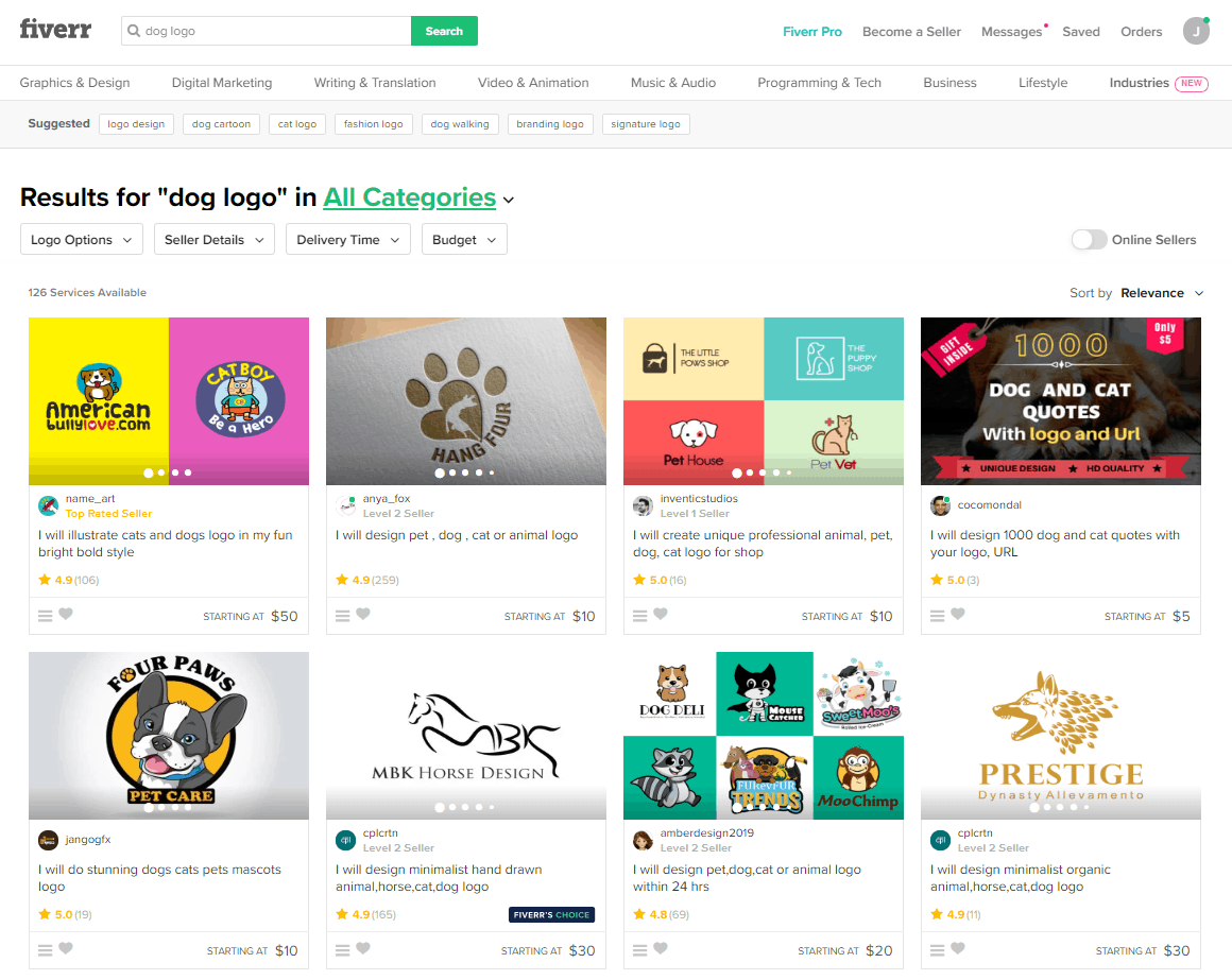Fiverr screenshot - Dog logo designers