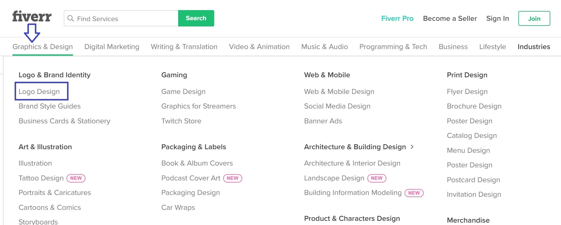 Fiverr screenshot - Graphics and Design menu