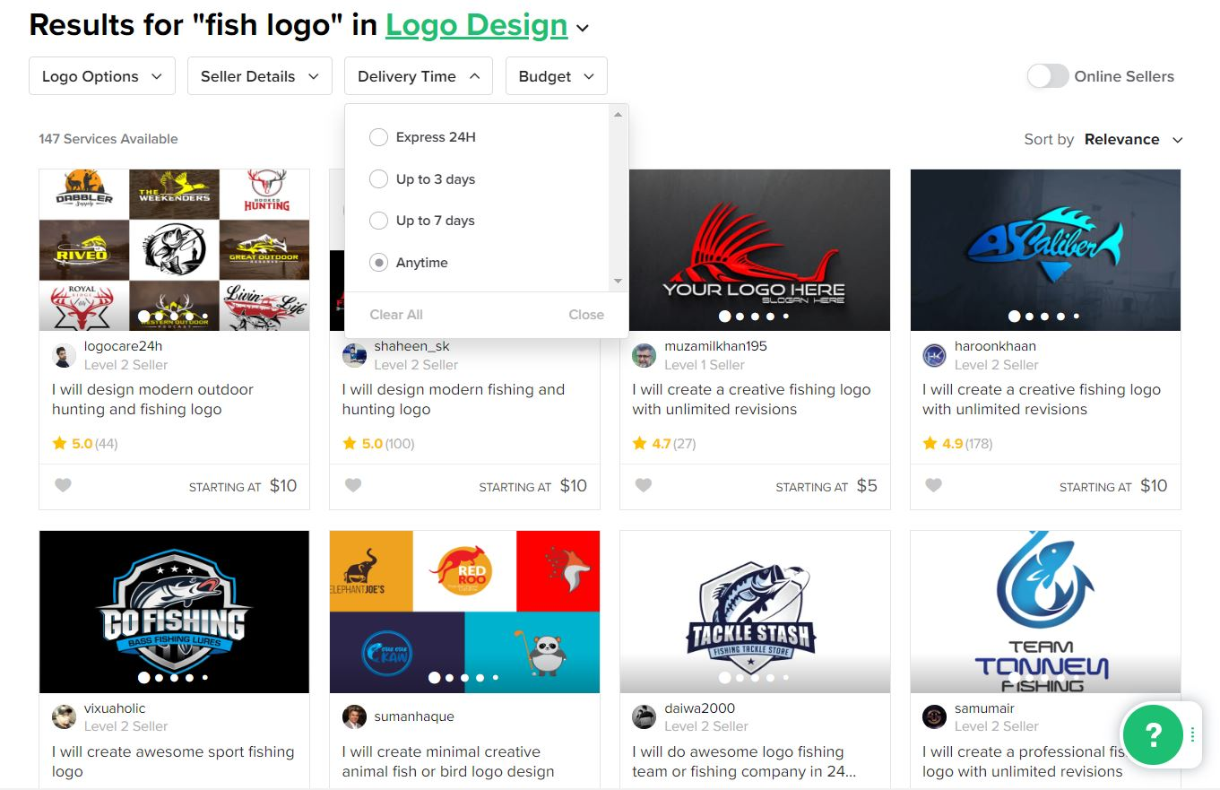Fiverr screenshot - Fish logo designers