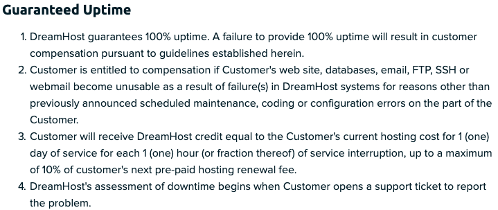 DreamHost's 100% uptime guarantee policy