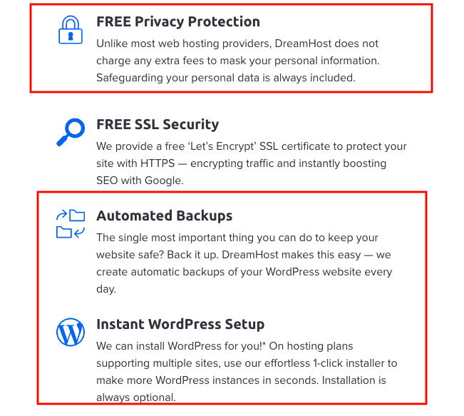 List of features included in DreamHost's plans