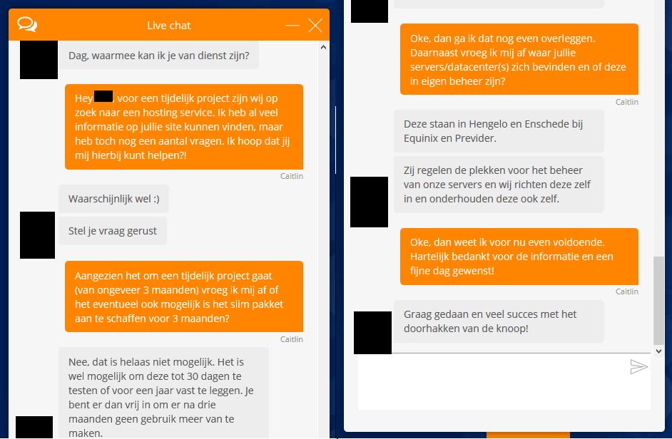 Chat Klantenservice YourHosting