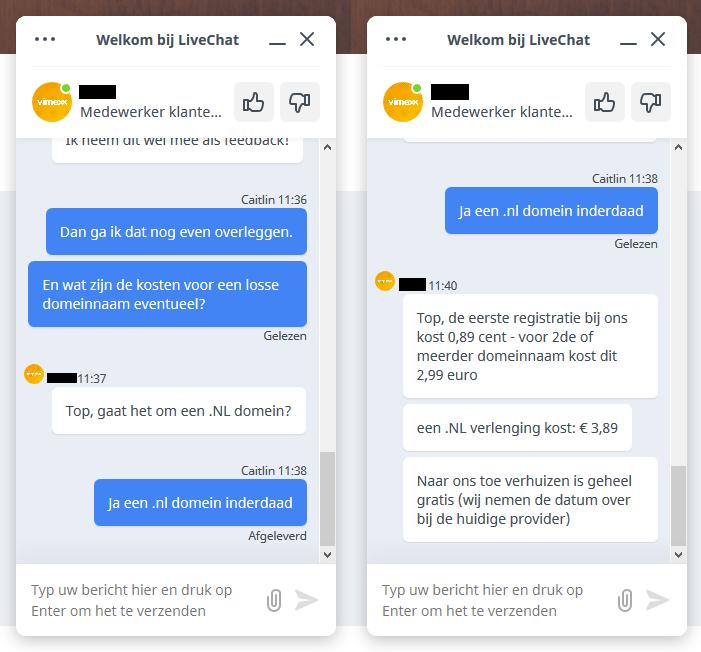 LiveChat Klantenservice Vimexx