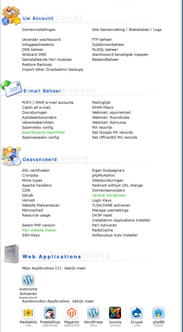 Vimexx Nederlandstalige DirectAdmin