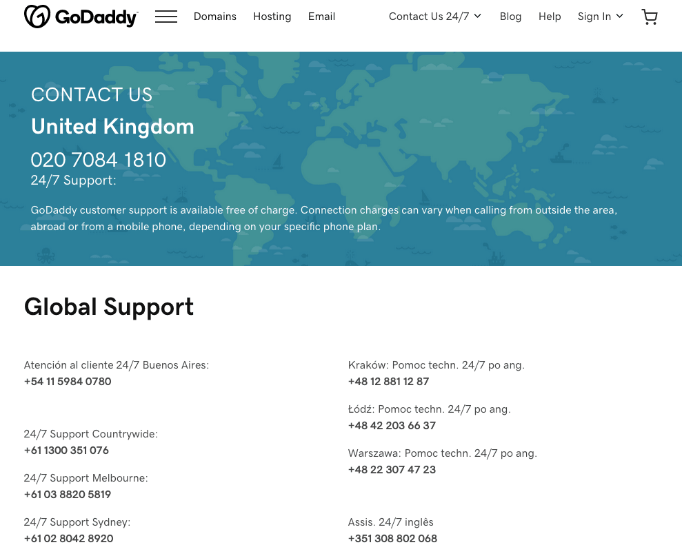 GoDaddy Global Support page