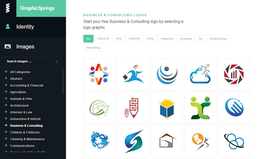 GraphicSprings Logo Maker screenshot - image library