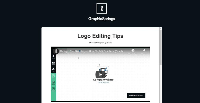 GraphicSprings screenshot - Logo Editing Tips