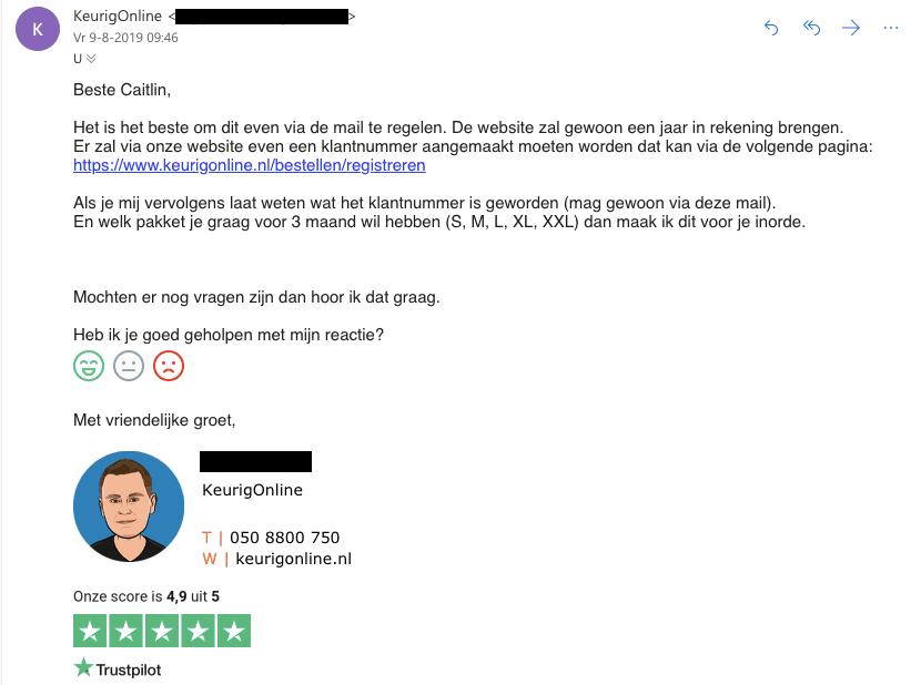 e-mail klantenservice KeurigOnline