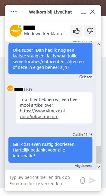 Live chat Vimexx Klantenservice