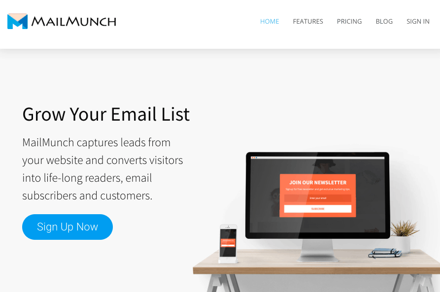 MailMunch screenshot - Homepage