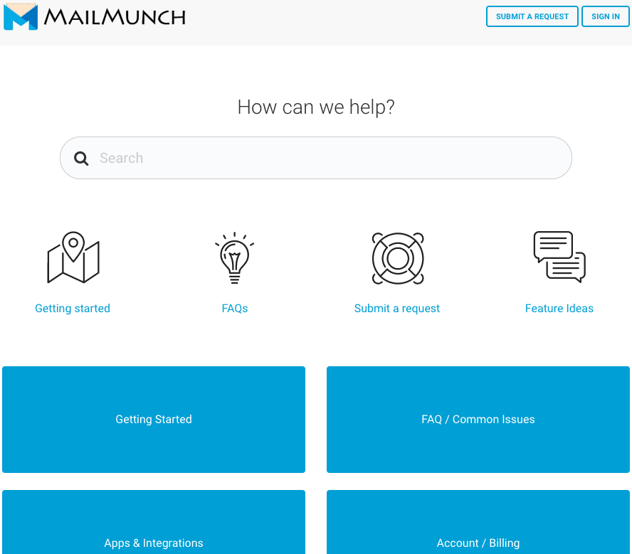 MailMunch screenshot - Support Center
