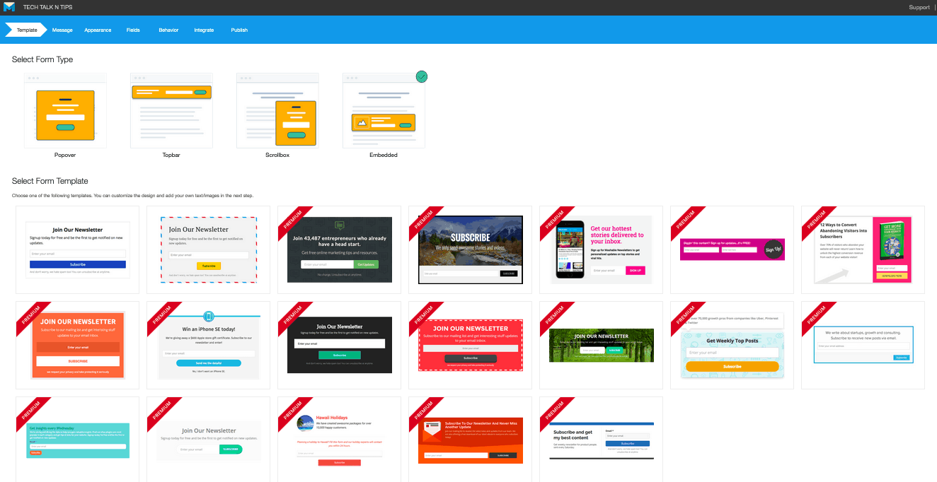 MailMunch screenshot - Templates