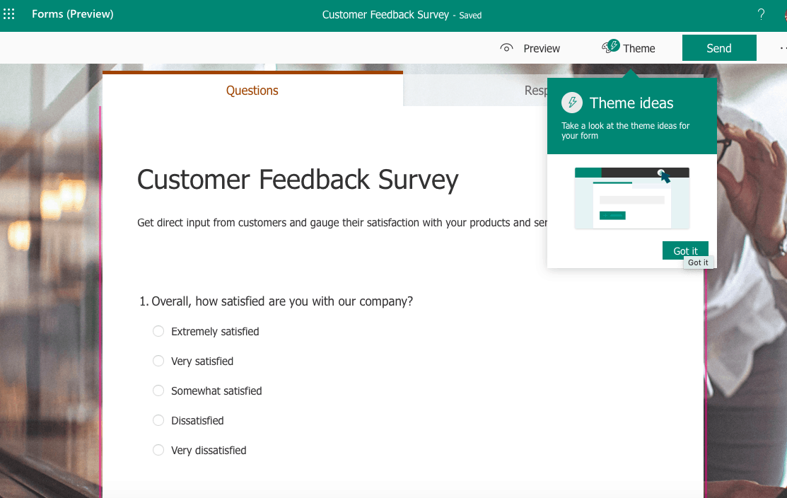 Microsoft Forms screenshot - Customer Feedback Survey