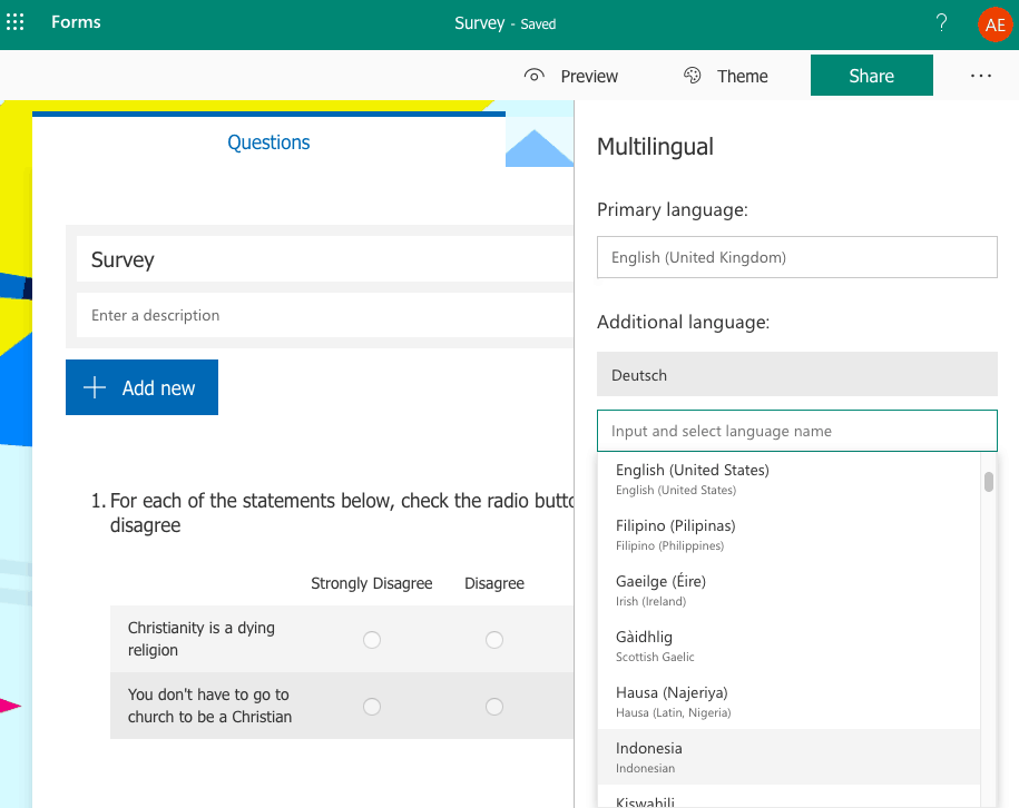 Microsoft Forms screenshot - Multilingual forms