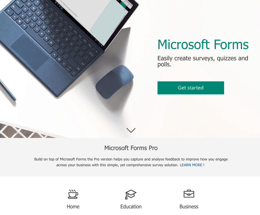 Microsoft Forms screenshot - Homepage