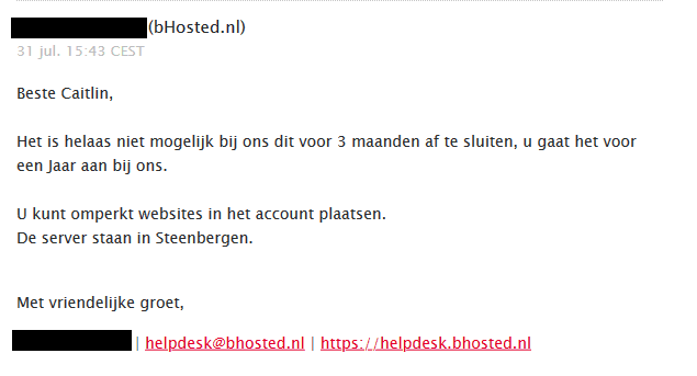 E-mail bHosted Klantenservice