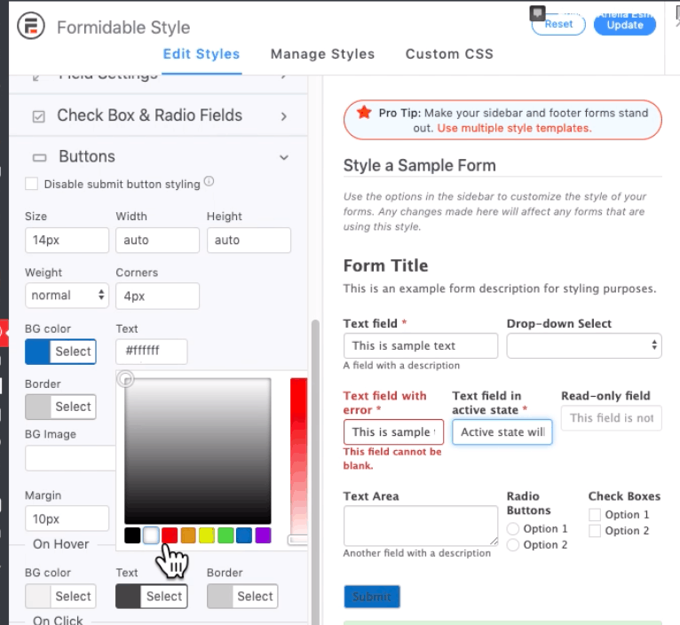 Formidable Forms screenshot - Style settings