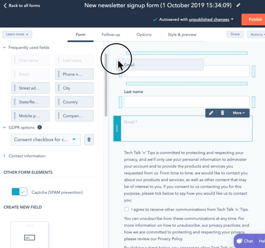 HubSpot Form Builder screenshot - Form editor