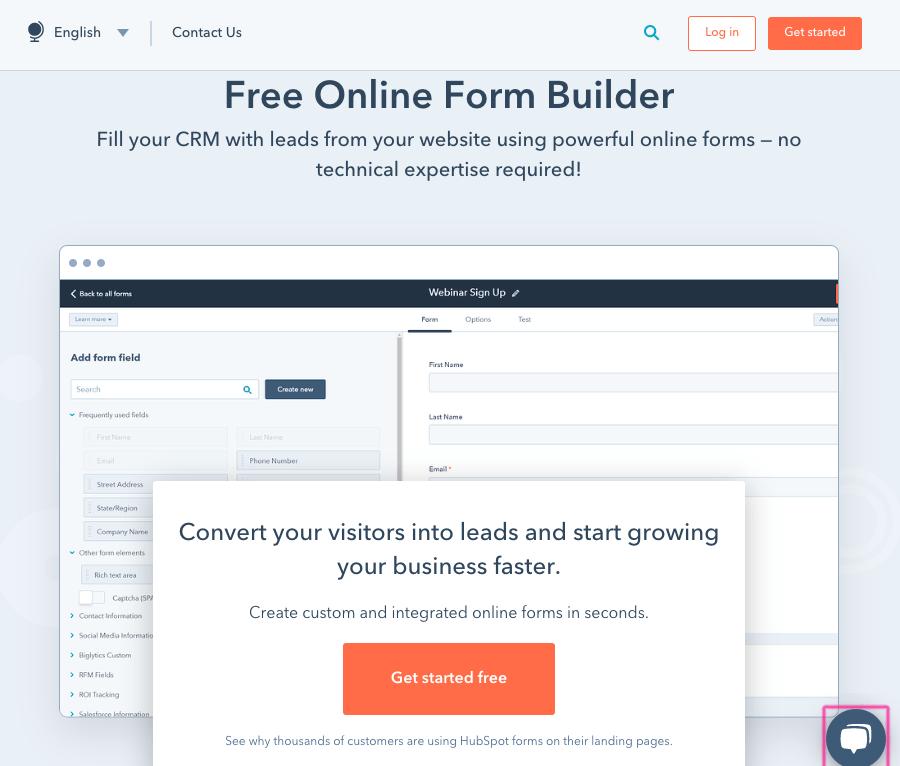 HubSpot Form Builder screenshot - homepage