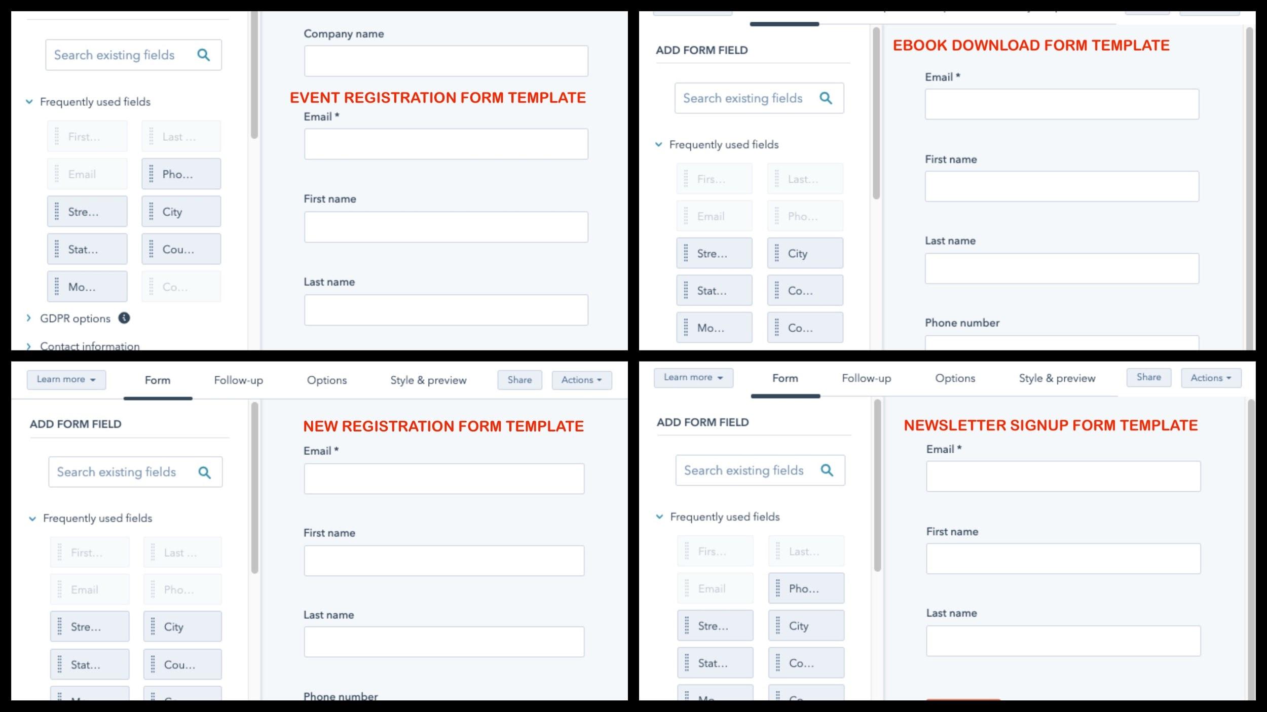 HubSpot Form Builder screenshot - Templates