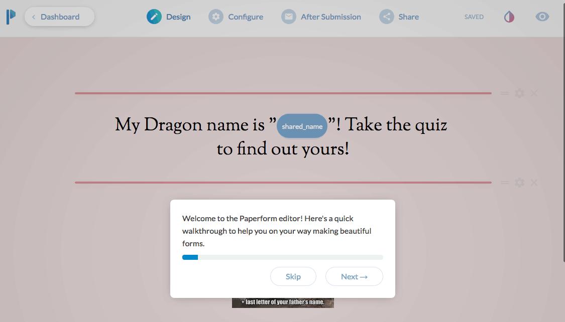 Paperform screenshot - Interactive Walkthrough