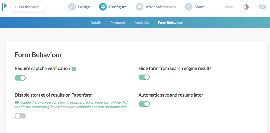 Paperform screenshot - Form behavior settings