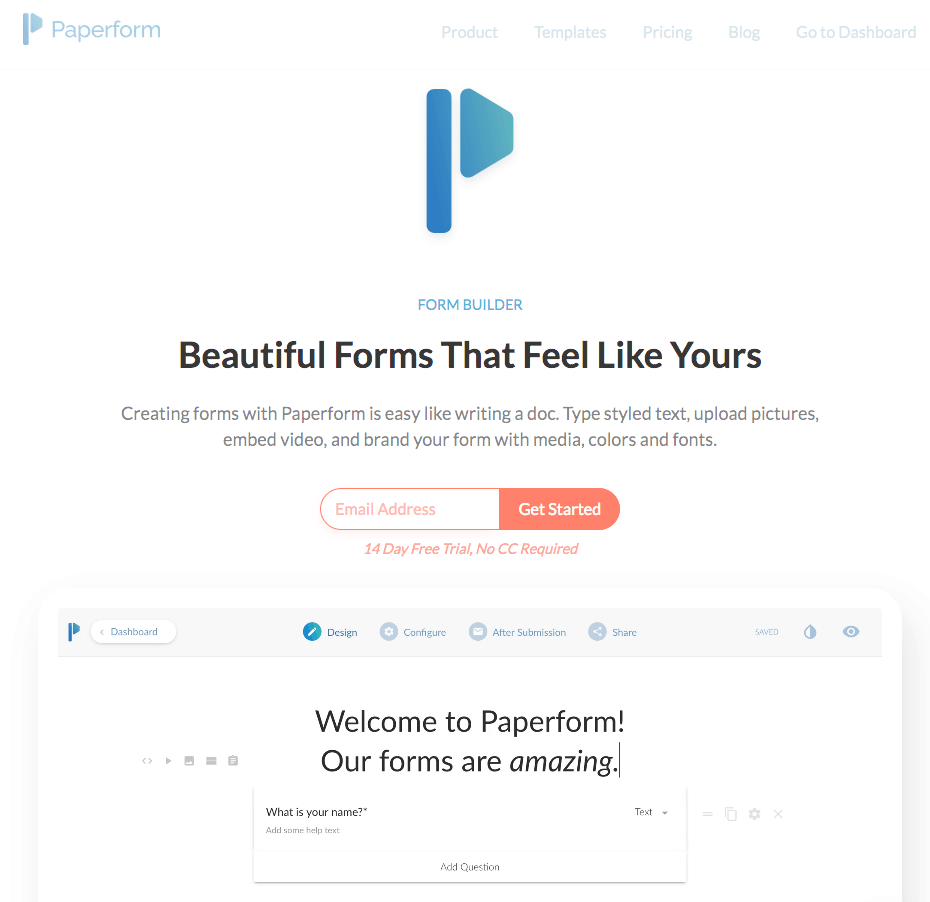Paperform screenshot - homepage