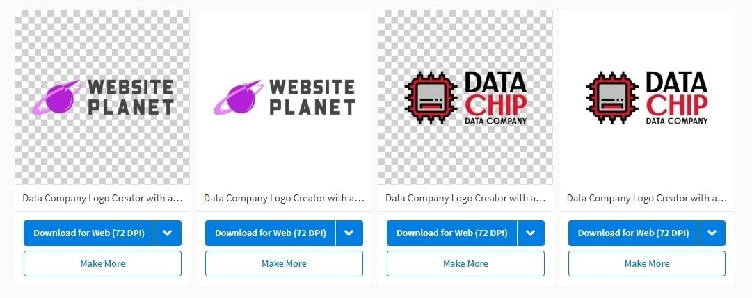 Placeit Logo Maker screenshot - template and final logo
