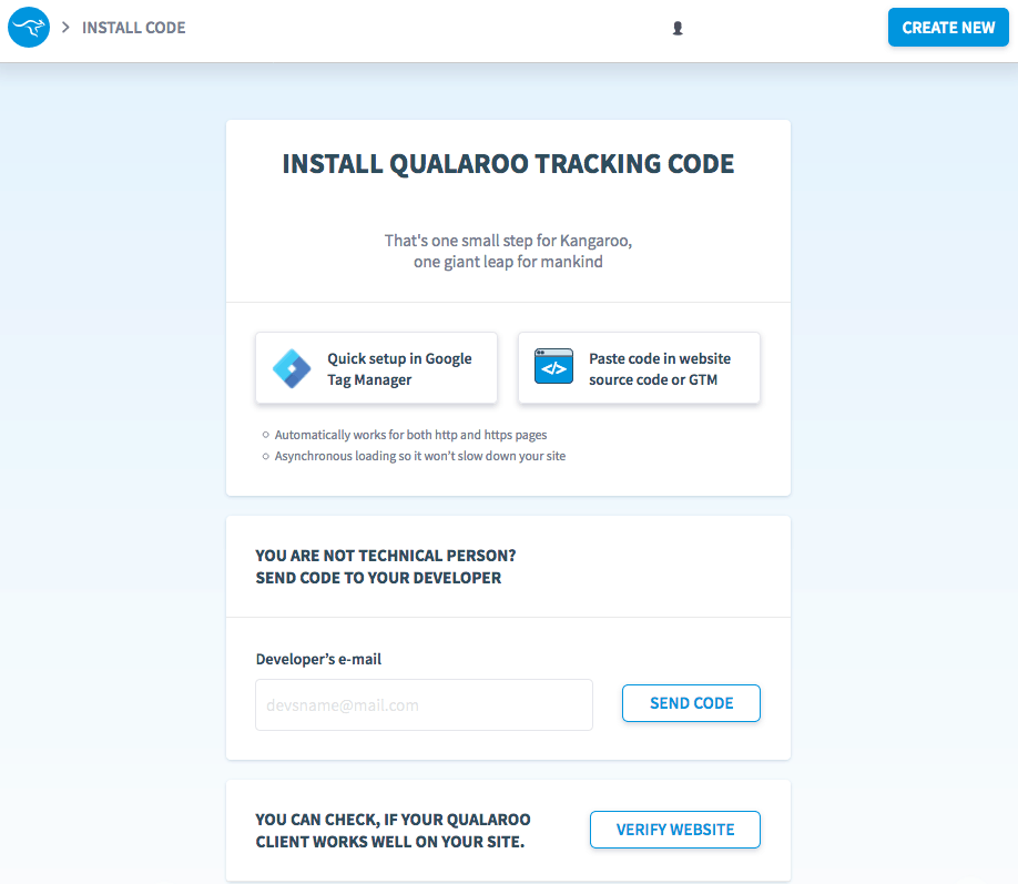 Qualaroo screenshot - Install tracking code