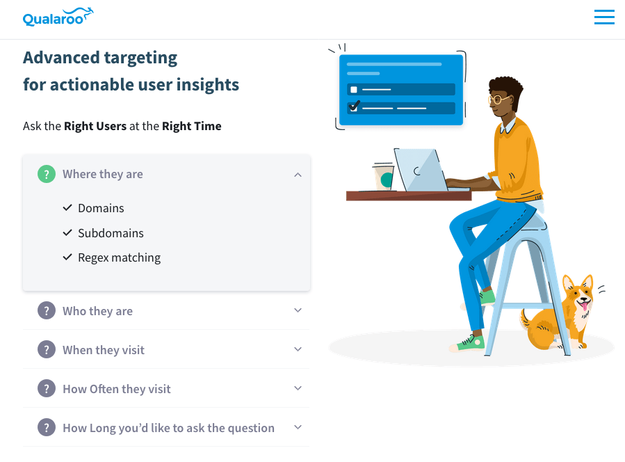 Qualaroo screenshot - Targeted Questioning