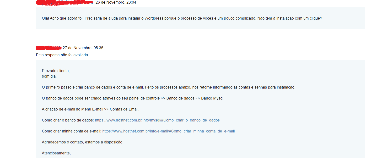 atendimento ao cliente chamado hostnet