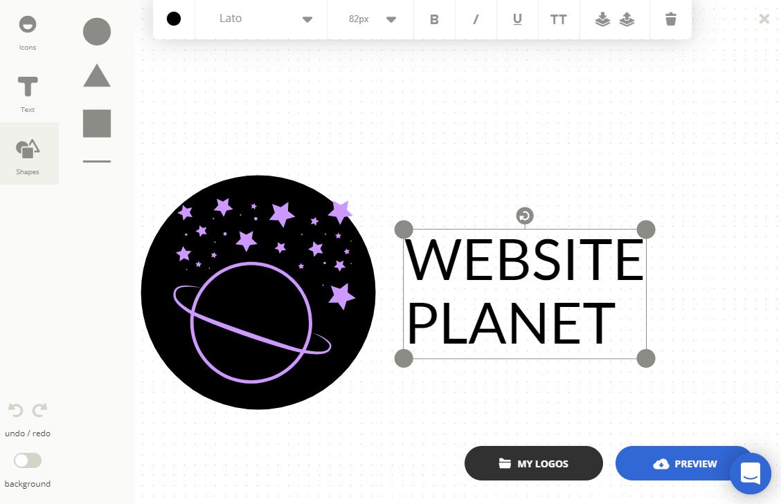 Ucraft Logo Maker screenshot - Text tool