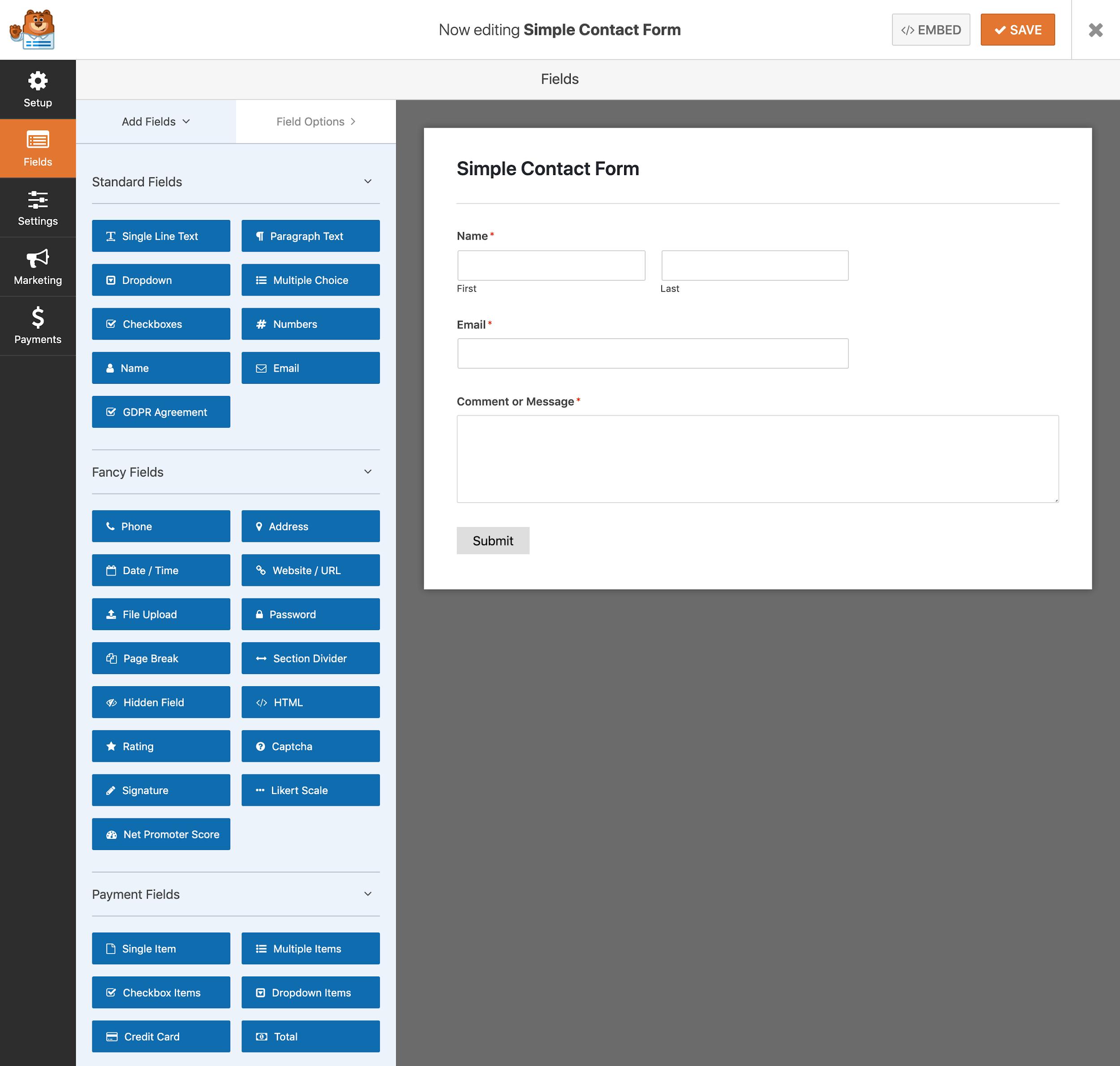 WPForms screenshot - Form builder