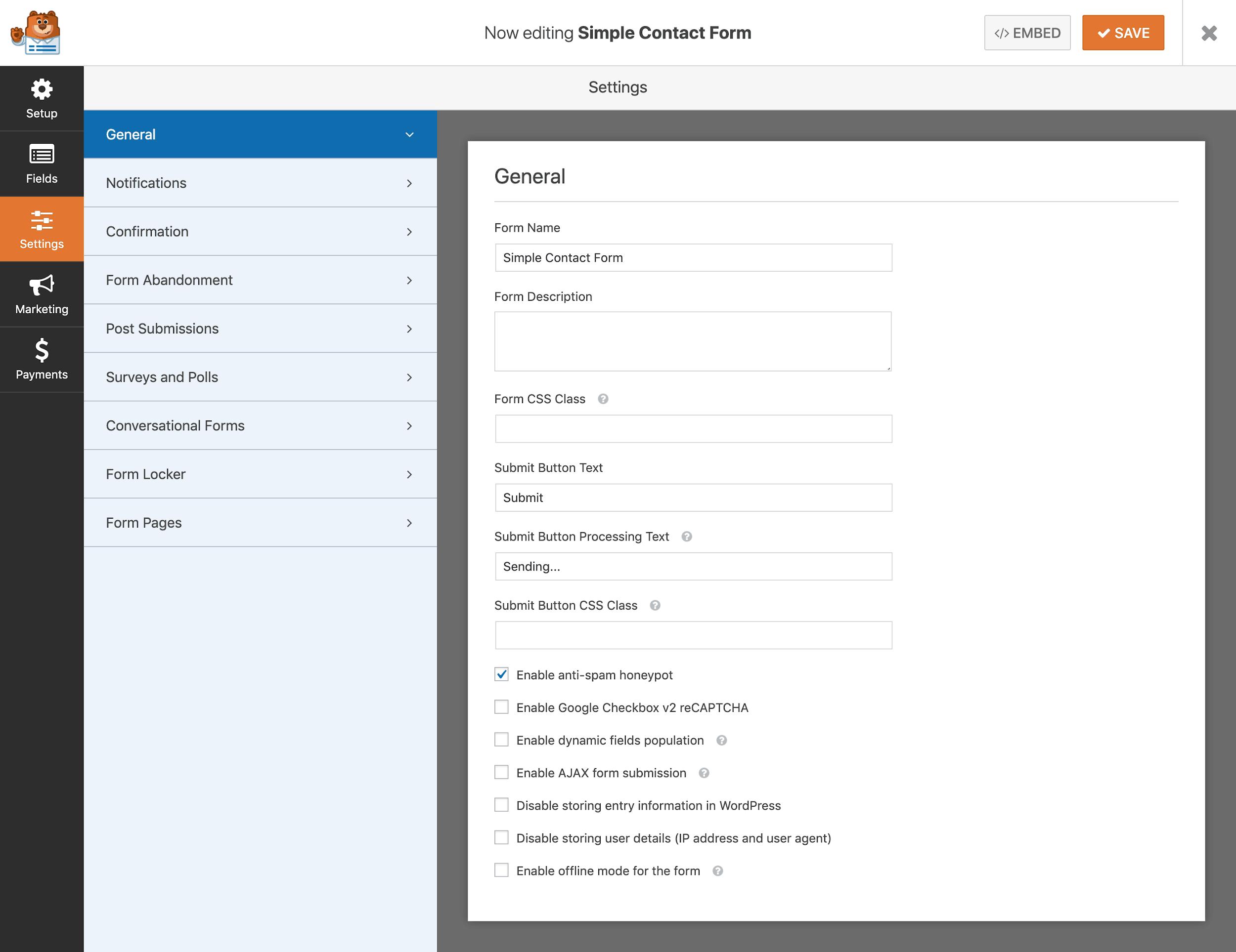 WPForms screenshot - Settings