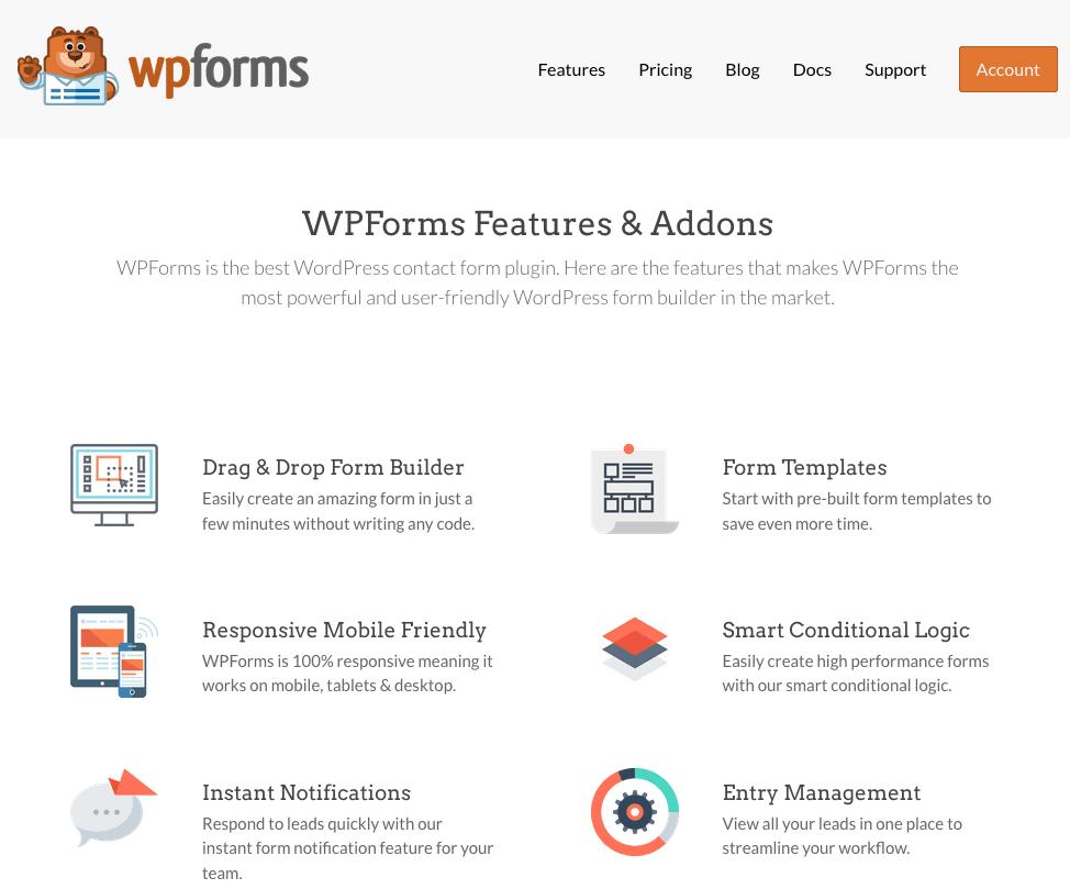 WPForms screenshot - Features