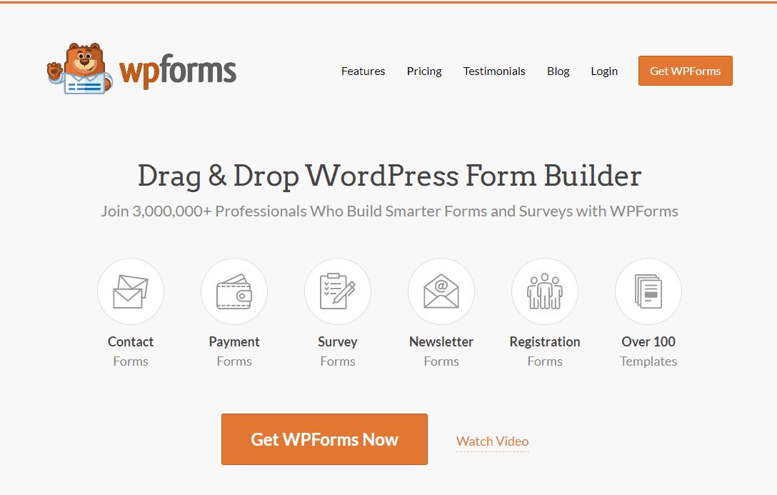 WPForms screenshot - Homepage