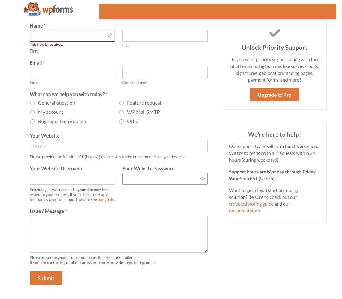 WPForms screenshot - Contact Support