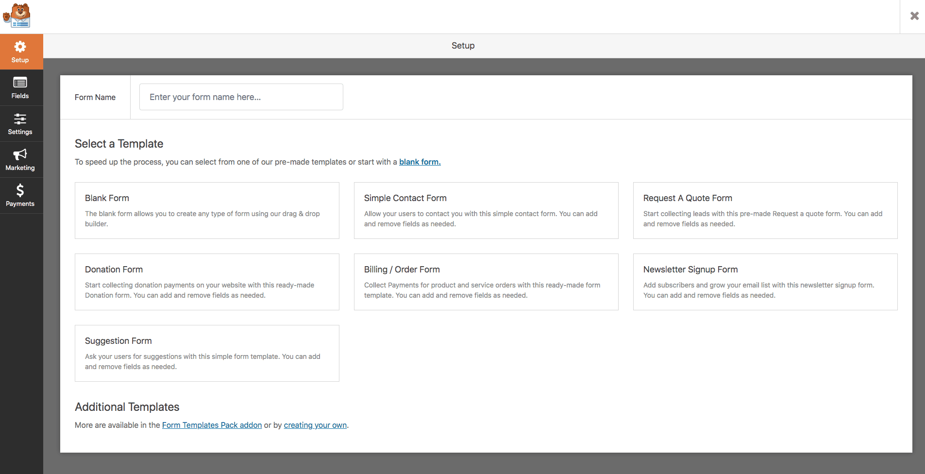 WPForms screenshot - Templates
