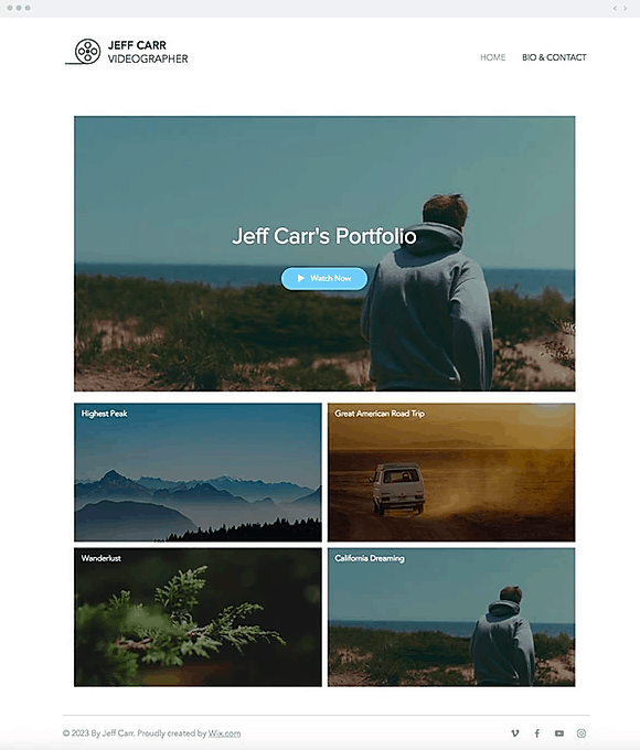 Wix Videographer template