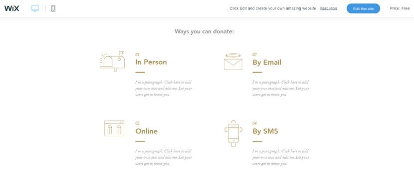 Wix - Donation page design