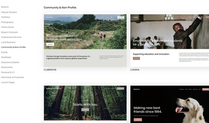 Squarespace Community & Non-Profits templates