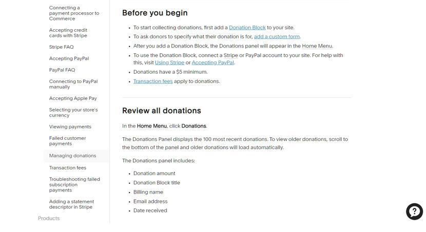 Squarespace - FAQ about donations