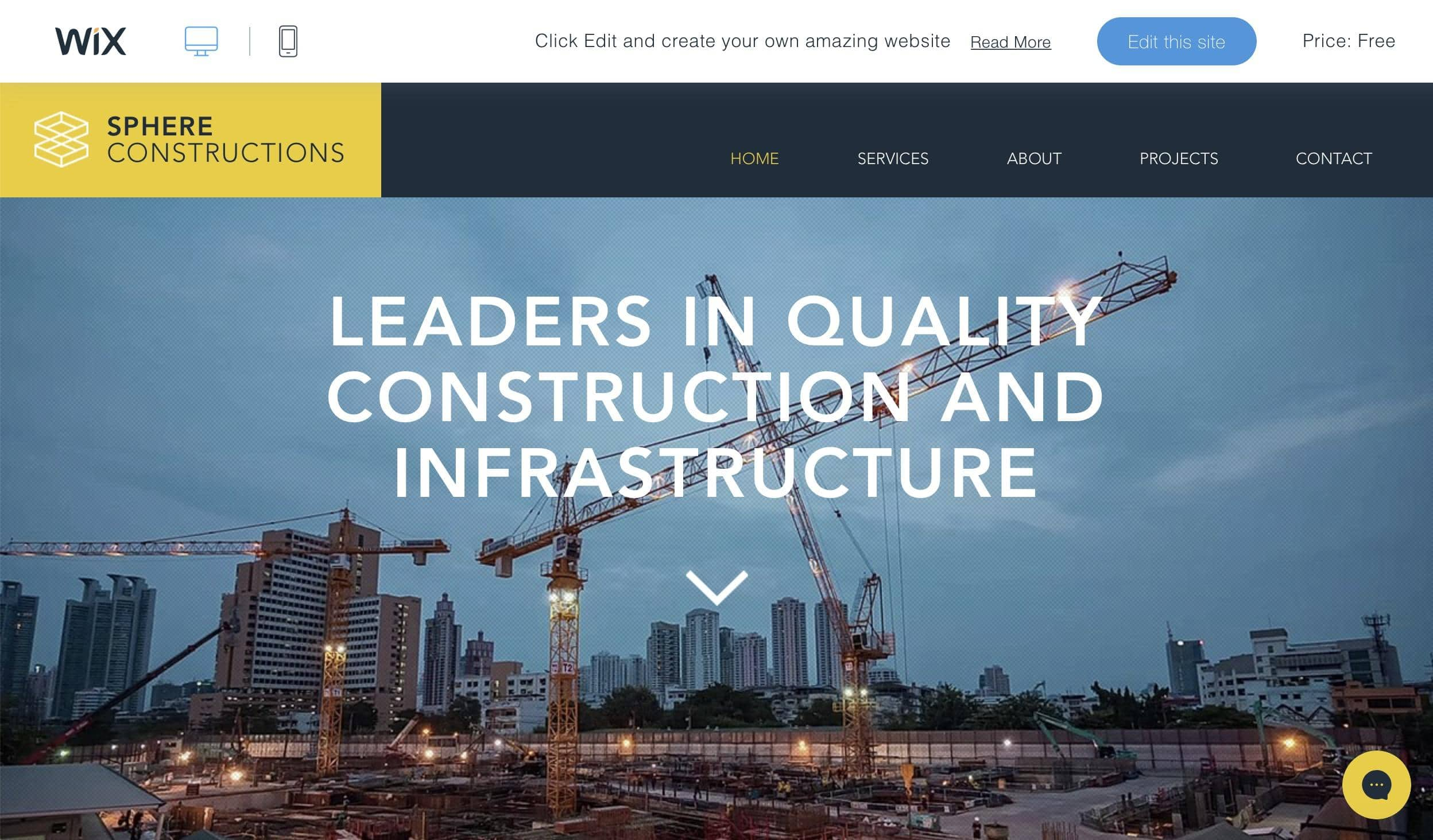 Wix Construction Company temlate
