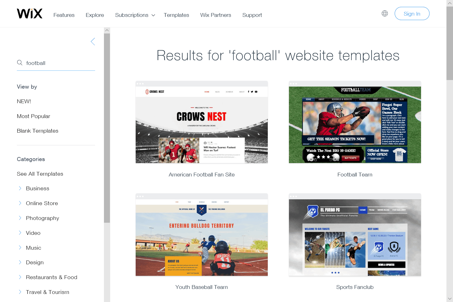 Wix screenshot - Football website templates