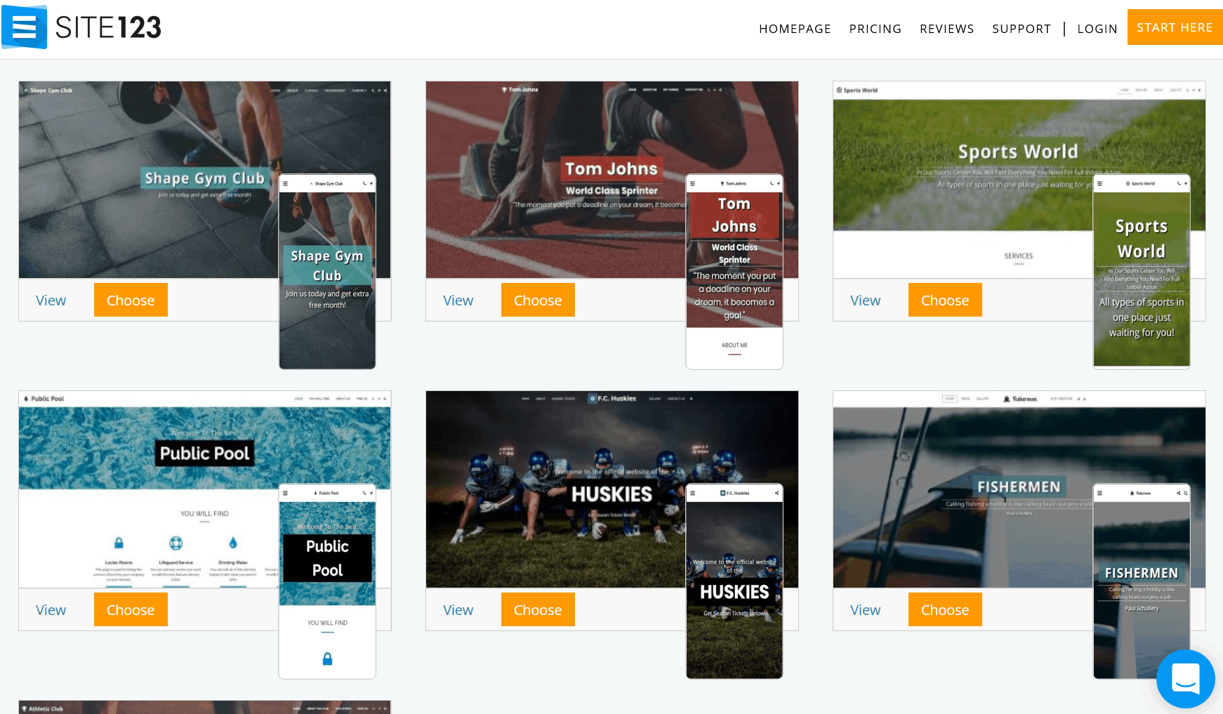 Site123 screenshot - Sports website templates