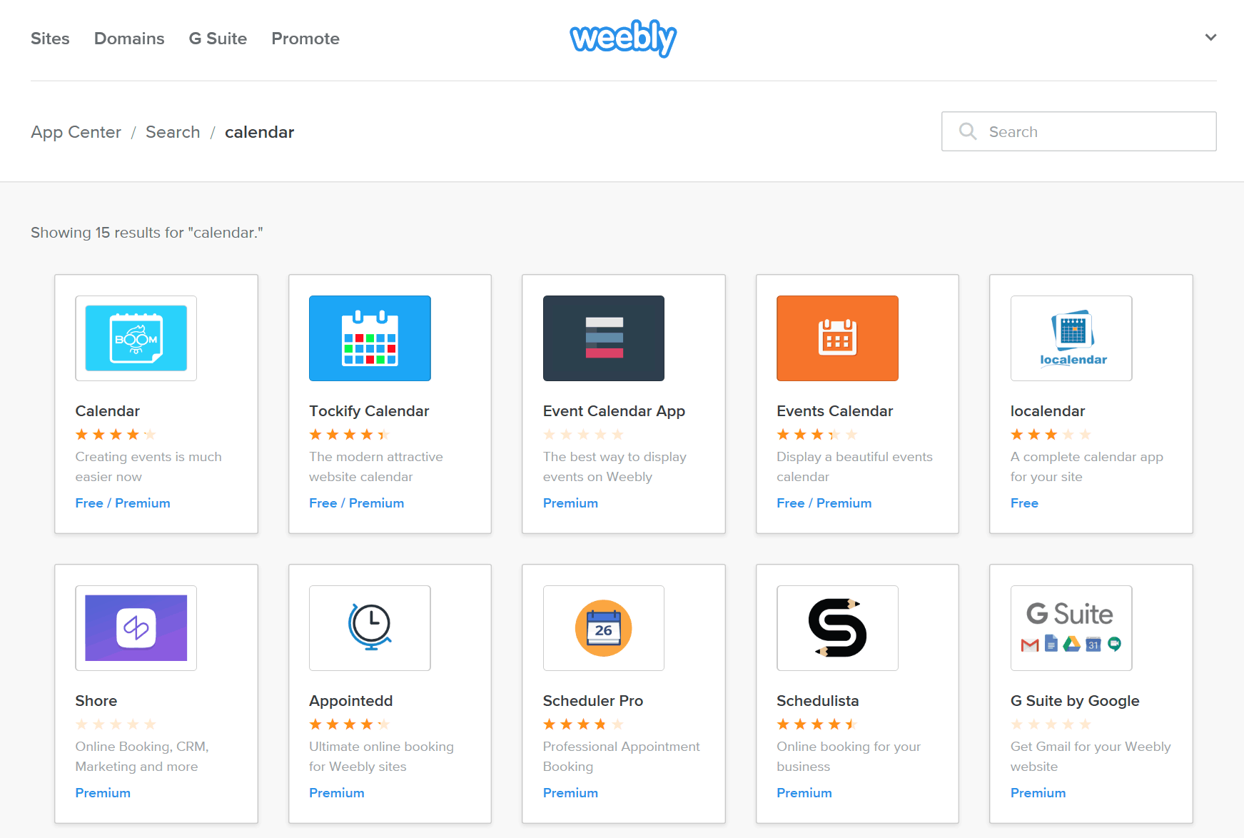 Weebly screenshot - Calendar apps in the App Center