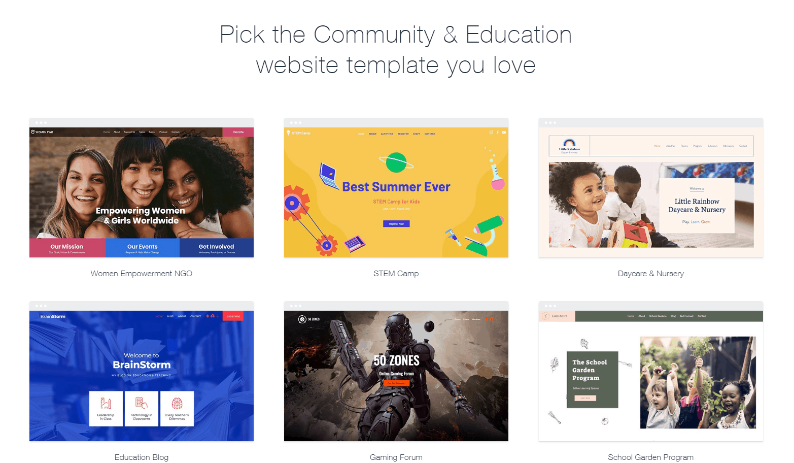 Wix Community & Education templates
